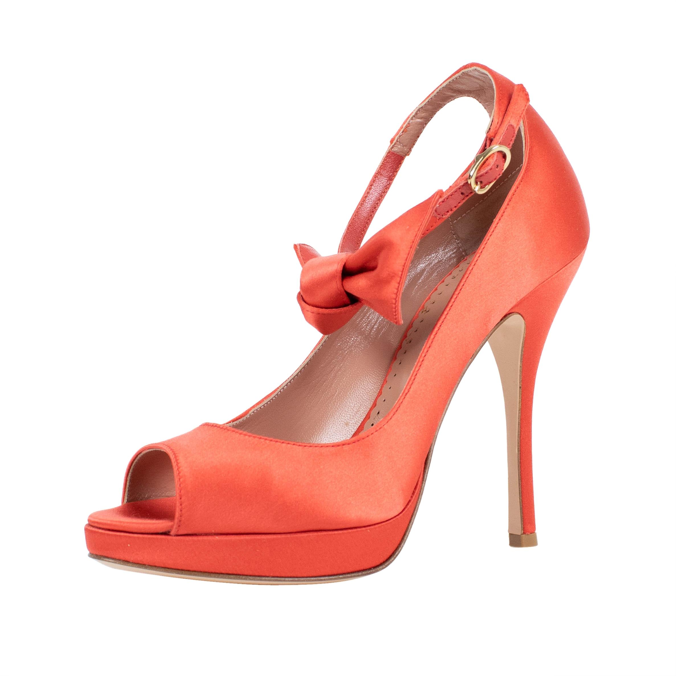 RED Valentino Orange With Bow Open Toe Leather Pumps Size US 7 Regular (M, B)