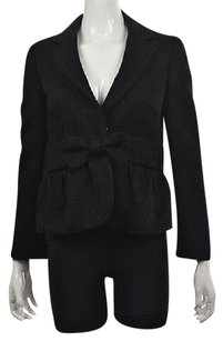 RED Valentino Red Valentino Womens Black Floral Blazer Wool Long Sleeve Career Jacket
