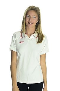 Reebok Reebok Womens Redwhite Tailored Light Workoutgolftennis Polo Shirt