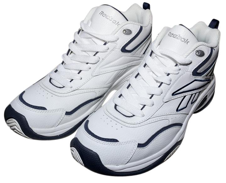 Reebok White/Navy/Silver Classic Running White/Navy/Silver Mens Sneakers Size US 8.5 Regular (M, B)