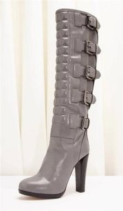 Reed Krakoff Leather Multi Buckle Detail Riding High Heel Gray Boots