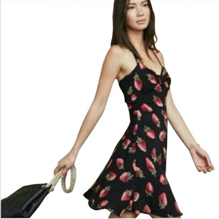 Reformation short dress black and red on Tradesy