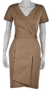 Reiss Womens Khaki Sheath Cotton Short Sleeve Knee Length Dress