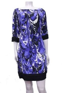 Reiss short dress blue white Black Abstract Print 34 Sleeves Pleated Hem Shift on Tradesy