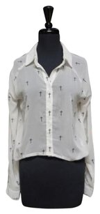 Reverse Poly Blend Button Down Crop Sheer Long Sleeve 15068 Top White/Black