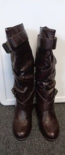 Rialto Soul Search Brass Buckled Block Heeled Round Toe B3312 Brown Boots