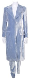 Richard Tyler Ice Blue Long Jacket Velvet Pant Suit Size 10