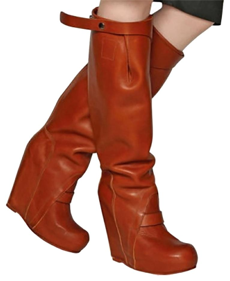 Rick Owens Brown 140mm Leather 8 Wedges Boots/Booties Size US 8 Leather 67b608