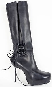 Rick Owens Lace Zip Up Black Boots