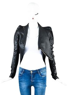 Rick Owens Leather Knit Motorcycle Jacket