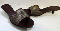 Robert Clergerie France Copper Metallic Mesh Leather Slide Sandals