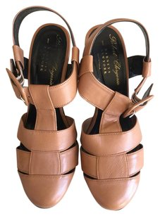 Robert Clergerie Wedge Leather Nude/Tan Wedges