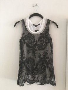 Robert Rodriguez Lace Overlay Top Black and White