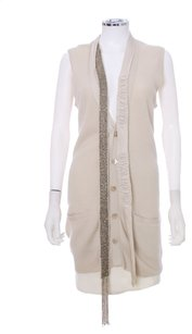 Robert Rodriguez Sweater Vest Embellished Sleeveless Beaded Cashmere Silk Cardigan