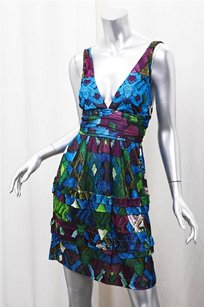 Roberto Cavalli short dress Blue Womens Multi Abstract Knit Sleeveless Fitflare 384 on Tradesy