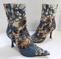 Roberto Cavalli Denim Animal Multi-Color Boots