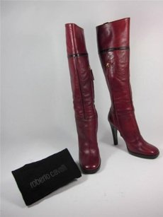 Roberto Cavalli Leather Tall Sz Cardinal Red Boots