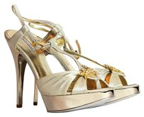 Roberto Cavalli gold metallic Sandals