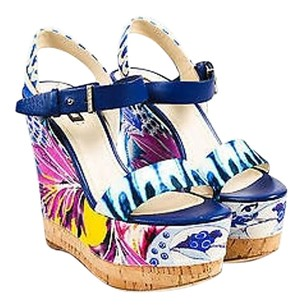 Roberto Cavalli Blue Multi-Color Sandals