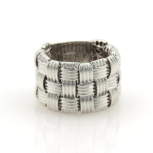 Roberto Coin Roberto Coin 18k White Gold Basket Weave 15mm Wide Flex Band Ring