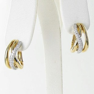 Roberto Coin Roberto Coin Earrings Crossover J Hoop 0.82cts Diamond 18k Yellow Gold