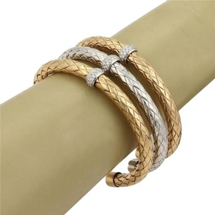 Roberto Coin Roberto Coin Primavera Diamond 18k Two Tone Gold Set Of Woven Cuff Bracelet
