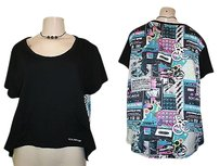 Rocawear High Low Hem Retro After Party Back Print Shirt Top Multi-Color