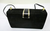 Rodo Suede Black Clutch