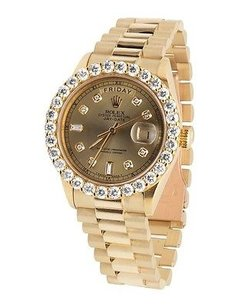 Rolex 18k Mens Yellow Gold Rolex President Day-date 36mm Prong Set Diamond Watch 5.5ct
