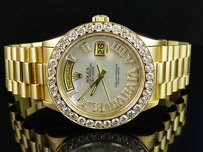 Rolex 18k Mens Yellow Gold Rolex President Day-date 36mm White Mop Diamond Watch 6.0ct