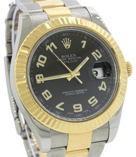 Rolex 2011 Rolex DateJust II Steel 18k Two Tone 41mm 116333 Black Watch Complete with Original Box & Papers