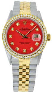 Rolex 36mm DateJust Two Tone Red Diamond Dial Bezel 1.25 Carat