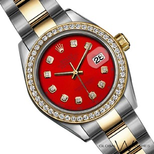 Rolex 36mm Red Rolex Oyster Datejust Large Size 18K Gold Stainless Steel