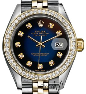 Rolex Black + Blue Faded Rolex w/ Genuine Diamonds Datejust 36MM 2Tone 18K /