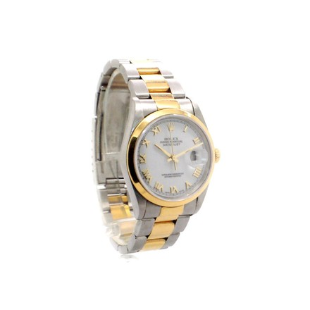 Rolex Datejust 16203 18K Yellow Gold and Steel White Roman Dial Men's Watch