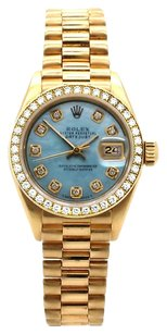 Rolex Datejust 18K Gold Custom Diamond Pastel Blue MOP Dial Ladies Watch