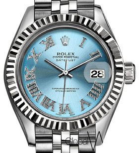 Rolex Diamond Frost Blue Roman Numeral Rolex Datejust Large 36MM 18K / SS