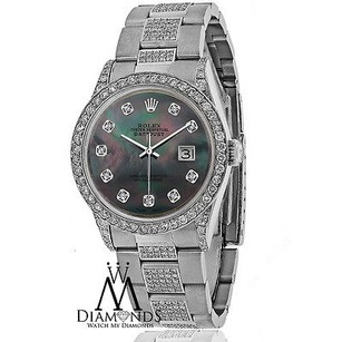 Rolex Diamond Rolex Datejust 16200 36mm Stainless Steel Oyster Black Mother Of Pearl