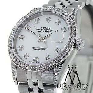 Rolex Diamond Rolex Datejust 16234 36mm Mother Of Pearl Dial Stainless Steel Watch