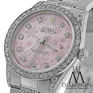 Rolex Diamond Rolex Datejust 36mm Pink Flower Diamond Dial 16200 Watch