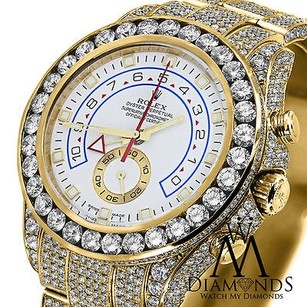 Rolex Diamond Rolex Watch Yacht-master Ii 116688 18k Yellow Gold White Dial Automatic