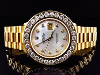 Rolex Excellent Mens Presidential Style Rolex Datejust With 7.2 Ct Diamond Bezel