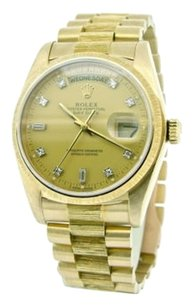 Rolex Factory Mens Rolex Day-date President 18k Yellow Gold Bark W Gold Diamond Dial