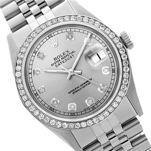 Rolex Preowned Datejust Grey Diamond Mens Watch 36mm 1601
