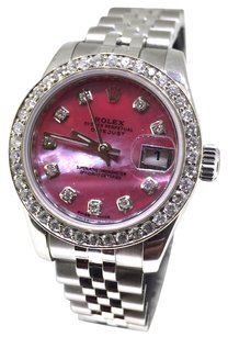 Rolex Ladies 26mm Rolex Red Mother of Pearl Diamond Watch