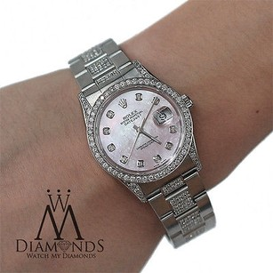 Rolex Ladies Diamond Rolex Datejust 16200 36mm Diamond Oyster Bracelet Pink Mop Dial