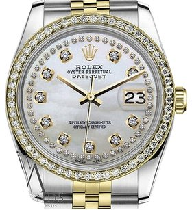 Rolex Ladies Rolex 31mm Datejust Tone White Mop Mother Of Pearl String Diamond Dial