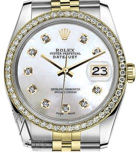 Rolex Ladies Rolex 31mm Datejust Tone White Mop Mother Of Pearl With Diamond