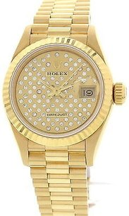 Rolex Ladies Rolex Datejust 18k Yellow Gold And Diamond Watch 69178