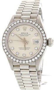 Rolex Ladies Rolex Datejust 69136 Platinum Factory Diamond Watch